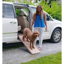 pet gear travel lite short bi fold pet ramp in tan used for travel