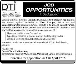 descon technical institute sadiqabad jobs job rtpk com descon technical institute sadiqabad jobs 25 04