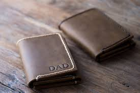 handmade leather trifold wallet