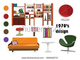 1970s interior design. 1970s 70s Interior Design Vector Elements. Retro Vintage Furniture Illustration. Living Room. Mood