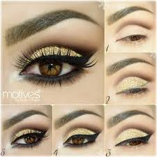 gold glitter eyeshadow makeup tutorial gorgeous dramatic step by step tutorial for more