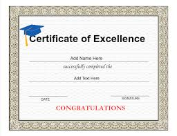 Award Of Excellence Certificate Template Graduation Certificate Wording Dtk Templates 62