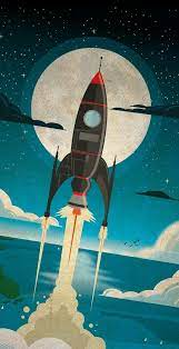 retro spaceship phone wallpaper