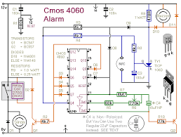 how to build a burglar alarm using a cmos 4060 a circuit diagram for a cmos 4060 based one time only burglar alarm