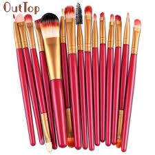 outtop best deal new good quality 15pcs makeup brush set tools make up toiletry kit