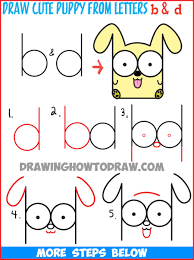 cute dogs drawings step by step. Delighful Dogs How To Draw A Dog Step By Easy 150344 Cartoon Baby Or  Puppy From Letters For Cute Dogs Drawings By E