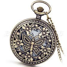 details about vintage hollow erfly quartz pocket watch necklace pendant chain womens gift