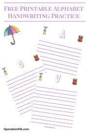 Free Alphabet Printable Handwriting Worksheets - Operation $40K