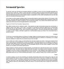 commemorative speech examples sample speech essay speech sample sample ceremonial speech example template 8 documents