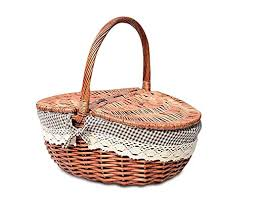 prom near wood wicker basket handmade woven willow storage basket with lid picnic basket flip cover portable weaving baskets linen lining gift