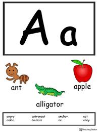 Letter A Alphabet Flash Cards For Preschoolers