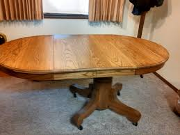 antique oak pedestal round dining table with 2 leaves nex tech