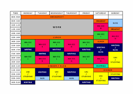 My Weekly Schedule Organising My Week Work Study Creativity Study Read Write