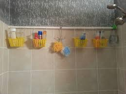 DIY shower caddy Dollar store buckets, zip ties/shwr curtain rings, and a