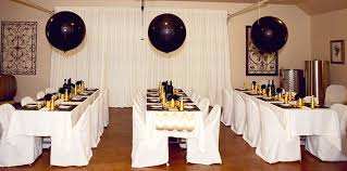gold and black bridal shower tables for guests