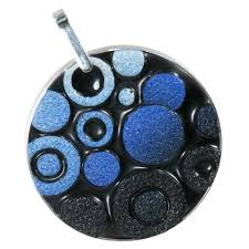 polka dot polymer clay cloisonné pendant black blue