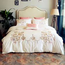embroidered white pink high quality duvet cover bedding