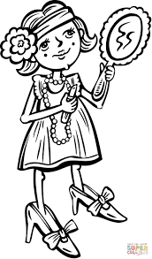 Young Girl Putting Makeup on coloring page | Free Printable ...