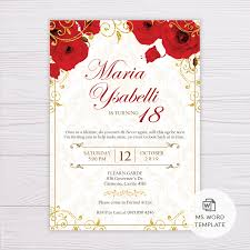 Royal Invitation Template Red Flowers Gold Ornaments Royal Invitation Template
