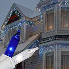 Led Christmas Blue Icicle Lights Blue Clear Icicle Lights White Wire Outdoor Led