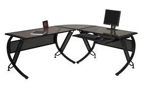 black l shaped desk glass
