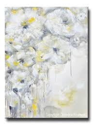 >fine art yellow grey abstract painting white flowers canvas art  giclee print art yellow grey abstract painting white flowers modern coastal floral canvas art gold neutral wall decor