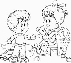 Preschool Boy And Girl Playing Toys Coloring Page For Playing