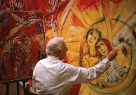 marc chagall working on the panels for new york s metropolitan opera the triumph of in paris 1966 photo 2017 artists rights society ars