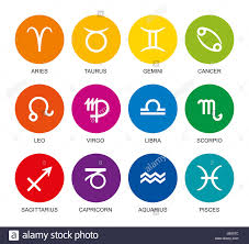 colors of the rainbow names. rainbow colored astrological signs of the zodiac. twelve circles with star sign symbols in bright colors and their names. isolated illustration on whi names