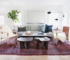 Lewis embraces contrasting patterns and textures in her interior designs.