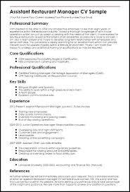 Restaurant Supervisor Job Description Resume Restaurant Supervisor