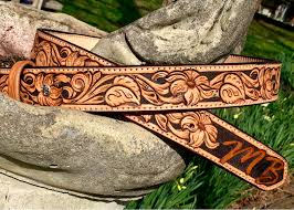 hand carved custom leather belt dyed background and fl tooling