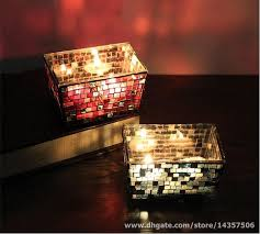 glass mosaic votive candle holders rectangle red blue mosaic tealight holder romantic decorative centerpiece for dining bar party hurricane glass candle