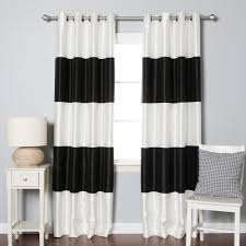 Black And White Horizontal Striped Curtains With Chair And Side Table For  Home Decoration Ideas