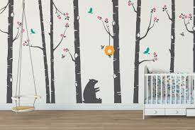 home wall stickers  on silver birch wall art stickers with cute bear and bumblebee birch tree wall stickers tree wall