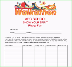 Walkathon Pledge Form Walk A Thon Template Best Models Pto Spring Activities Use Our