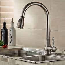 Modern Brushed Nickel Deck Mounted Pull Out Kitchen Sink Faucets Spray Swivel Pull Down Bathroom Mixers Taps