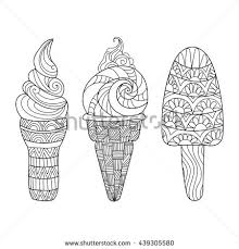 zentangle ice cream set for coloring book hand drawn vector ilration