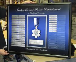 frame santa monica pd medal of courage perpetual plaque from badge