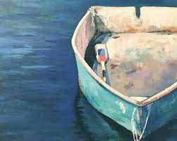 One Blue Dory Painting by Leslie Alfred McGrath