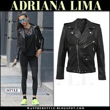 adriana lima in black leather jacket blk dnm what she wore april 23 2017 streetstyle