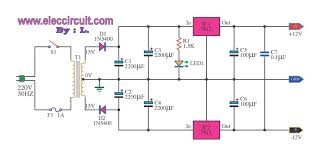 schematic voltage regulator the wiring diagram 12v 12v power supply using lm7812 lm7912 schematic