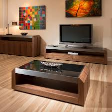 sentinel large walnut glass rectangular coffee table modern designer 01a