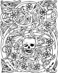 Halloween Skull And Vines Recolor App Halloween Coloring Pages