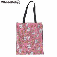 whosepet women top handle bag nurse print handbag ager s canvas daily tote bag kids book shoulder bag travel bolsa femme in shoulder bags from