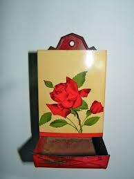 vintage tin matchstick holder original rose painted