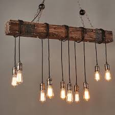 farmhouse wood beam island hanging pendant light chandelier with 10 edison bulb 1 of 9only 2 available see more