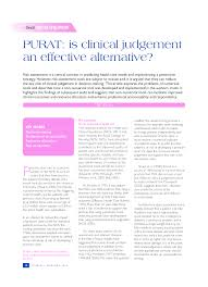 Pdf Purat Is Clinical Judgement An Effective Alternative