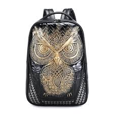 59 personalized 3d owl pu leather durable casual laptop backpack school bag