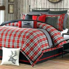 king size flannel comforter red plaid queen set lodge cabin black woven with comfo